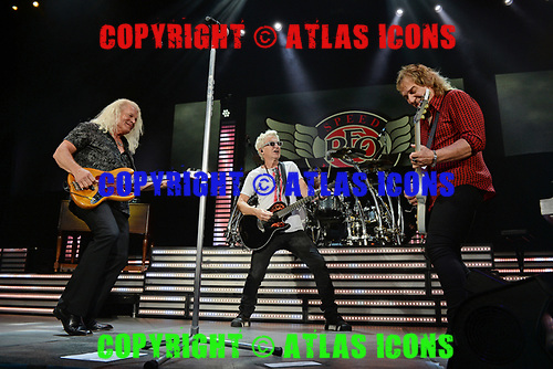 WEST PALM BEACH, FL - JULY 20: Bruce Hall, Dave Amato and Kevin Cronin of REO Speedwagon perform at The Coral Sky Amphitheatre on July 20, 2018 in West Palm Beach Florida. Credit Larry Marano © 2018
