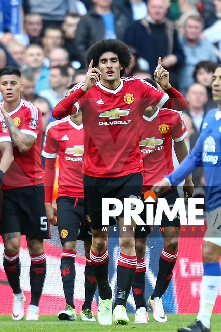 Marouane Fellaini of Manchester United celebrates scoring the opening goal against Everton during the FA Cup Semi-Final match between Everton and Manchester United at Wembley Stadium, London, England on 23 April 2016. Photo by David Horn / PRiME Media Images.