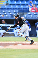Delmarva Shorebirds third baseman Ryne Ogren (4) swings at a pitch during a game against the Asheville Tourists at McCormick Field on May 3, 2019 in Asheville, North Carolina. The Shorebirds defeated the Tourists 6-5. (Tony Farlow/Four Seam Images)