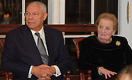 October 27, 2011  (Washington, DC)   Former Secretaries of State Colin Powell and  Madeleine K. Albright at the 50th Anniversary Celebration of the Diplomatic Rooms at the State Department in Washington.   (Photo by Don Baxter/Media Images International)