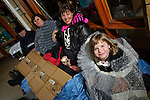 Pix: Shaun Flannery/shaunflanneryphotography.com...COPYRIGHT PICTURE>>SHAUN FLANNERY>01302-570814>>07778315553>>..8th October 2010...........Lakeside Village, Doncaster..Children's charity SAFE@LAST hold The Big Sleepout at Lakeside Village..Melissa Simpson seeks warmth from bubble wrap watched on by L-R Cllr Andrea Milner, cabinet member for Children & Young People's Service, Equalities and Cohesion, Education, Vicki Lawson, Dawn Orton.