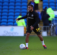 29th February 2020; Cardiff City Stadium, Cardiff, Glamorgan, Wales; English Championship Football, Cardiff City versus Brentford; Bryan Mbeumo of Brentford warms up before the game