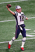 3rd February 2019, Atlanta Georgia, USA; NFL Superbowl LIII, New England Patriots versus Los Angeles Rams;  New England Patriots quarterback Tom Brady (12) warms up prior to Super Bowl LIIIportswire)