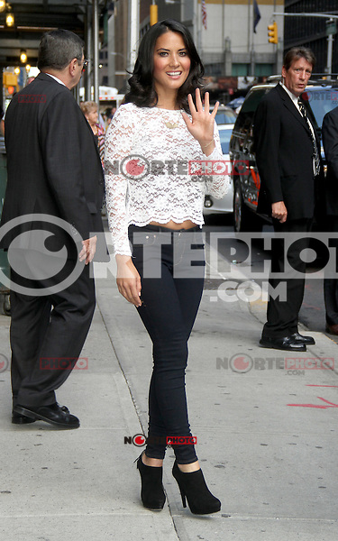 NEW YORK CITY, NY - August 20, 2012: Olivia Munn at The Ed Sullivan Theater for an appearance on Late Show With David Letterman in New York City. &copy; RW/MediaPunch Inc. /NortePhoto.com<br />