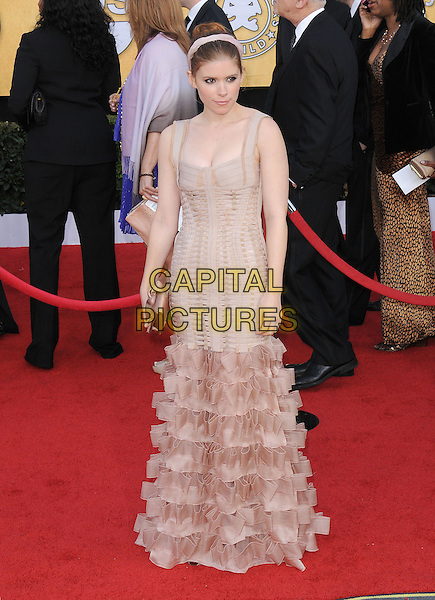 KATE MARA .17th Annual Screen Actors Guild Awards held at The Shrine Auditorium, Los Angeles, California, USA..January 30th, 2011.SAG arrivals full length beige pink ruffle fishtail dress sleeveless hairband clutch bag.CAP/RKE/DVS.©DVS/RockinExposures/Capital Pictures.