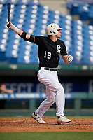 Michael Bello (18) of Pope John XXIII High School in Oak Ridge, NJ during the Perfect Game National Showcase at Hoover Metropolitan Stadium on June 18, 2020 in Hoover, Alabama. (Mike Janes/Four Seam Images)