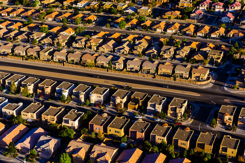 Aerial view of neighborhoods, Albuquerque, New Mexico USA