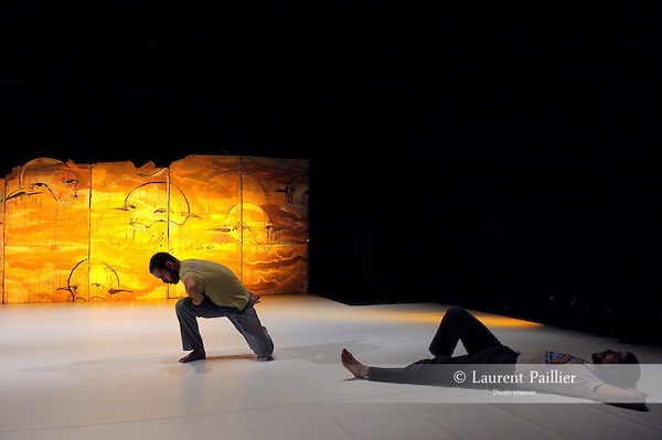 QUIET<br /> Chorégraphie et mise en scène : Arkadi Zaide<br /> Collaboration artistique : Joanna Lesnierowska<br /> Musique : Tom Tlalim<br /> Musique additionnelle : Ziv Jacob, Domenico Ferrari, Ran Slavin<br /> Décor : Klone<br /> Lumières : Firas Roby<br /> Costumes : Salim Schada<br /> Avec : Muhemmed Mugrabi, Ofir Yudilevitch, Yuval Goldstei, Arkadi Zaides<br /> Le 17/10/2012<br /> Lieu : Théâtre National de Chaillot<br /> Ville : Paris<br /> © Laurent Paillier / photosdedanse.com<br /> All rights reserved