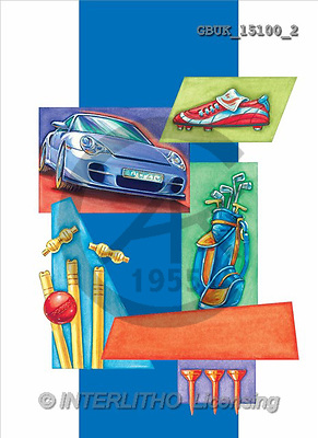 Stephen, MASCULIN, paintings, blue car, shoe, golf(GBUK15100/2,#M#) Männer, masculino, illustrations, pinturas , hombres ,everyday