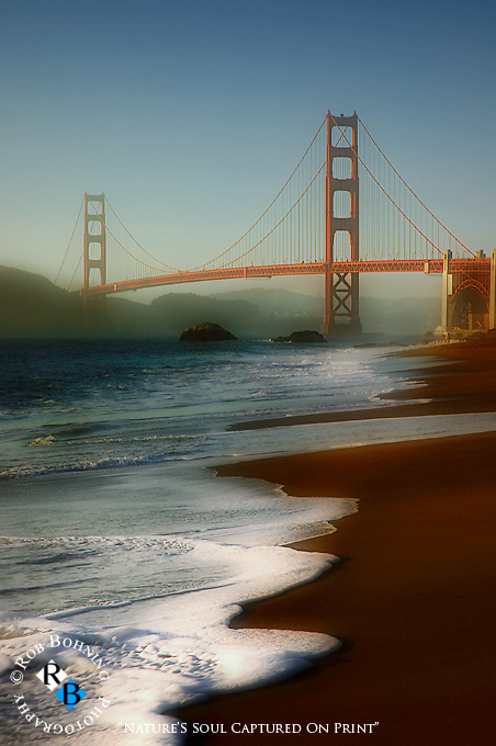 Twilight at the Golden Gate Bridge from the Baker Beach perspective.