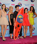 UNIVERSAL CITY, CA - JULY 22: Troian Bellisario, Ashley Benson, Ian Harding, Lucy Hale and Shay Mitchell pose in the press room at the 2012 Teen Choice Awards at Gibson Amphitheatre on July 22, 2012 in Universal City, California.