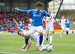 St Johnstone v Inverness Caley Thistle....07.04.12   SPL.Fran Sandaza skips a tackle from Roman Golobart.Picture by Graeme Hart..Copyright Perthshire Picture Agency.Tel: 01738 623350  Mobile: 07990 594431
