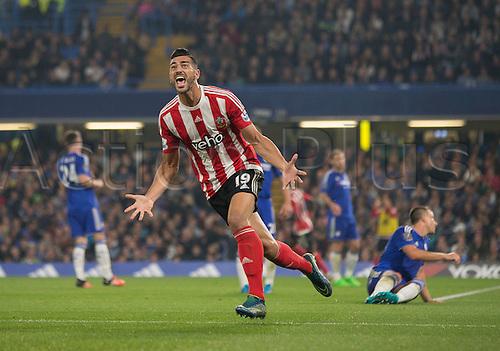 03.10.2015. London, England. Barclays Premier League. Chelsea versus Southampton. Southampton's Graziano Pellè celebrates his goal which made it 3-1.