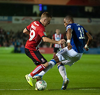 Lincoln City's Joe Morrell vies for possession with Everton's Djibril Sidibe<br /> <br /> Photographer Andrew Vaughan/CameraSport<br /> <br /> The Carabao Cup Second Round - Lincoln City v Everton - Wednesday 28th August 2019 - Sincil Bank - Lincoln<br />  <br /> World Copyright © 2019 CameraSport. All rights reserved. 43 Linden Ave. Countesthorpe. Leicester. England. LE8 5PG - Tel: +44 (0) 116 277 4147 - admin@camerasport.com - www.camerasport.com