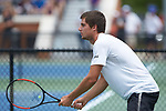 Borna Gojo of the Wake Forest Demon Deacons in action against the Texas A&M Aggies during the semifinals at the 2018 NCAA Men's Tennis Championship at the Wake Forest Tennis Center on May 21, 2018 in Winston-Salem, North Carolina. The Demon Deacons defeated the Aggies 4-3. (Brian Westerholt/Sports On Film)