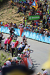 Polka Dot Jersey Warren Barguil (FRA) Team Sunweb approaches the finish on Col d'Izoard summit during Stage 18 of the 104th edition of the Tour de France 2017, running 179.5km from Briancon to the summit of Col d'Izoard, France. 20th July 2017.<br /> Picture: Andy Brady | Cyclefile<br /> <br /> All photos usage must carry mandatory copyright credit (&copy; Cyclefile | Andy Brady)