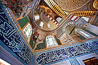Interior & Iznik Tiles of the Ottoman style İznik ceramic tiles of the Tomb of Sultan Selim II in the outer courtyard of Aya Sophia. Built in in 1577 , Istanbul, Turkey