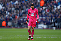 29th February 2020; London Stadium, London, England; English Premier League Football, West Ham United versus Southampton; A disappointed Goalkeeper Alex McCarthy of Southampton looking down towards the pitch during the 2nd half