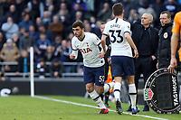 Troy Parrott of Tottenham Hotspur replaces Ben Davies of Tottenham Hotspur during Tottenham Hotspur vs Wolverhampton Wanderers, Premier League Football at Tottenham Hotspur Stadium on 1st March 2020
