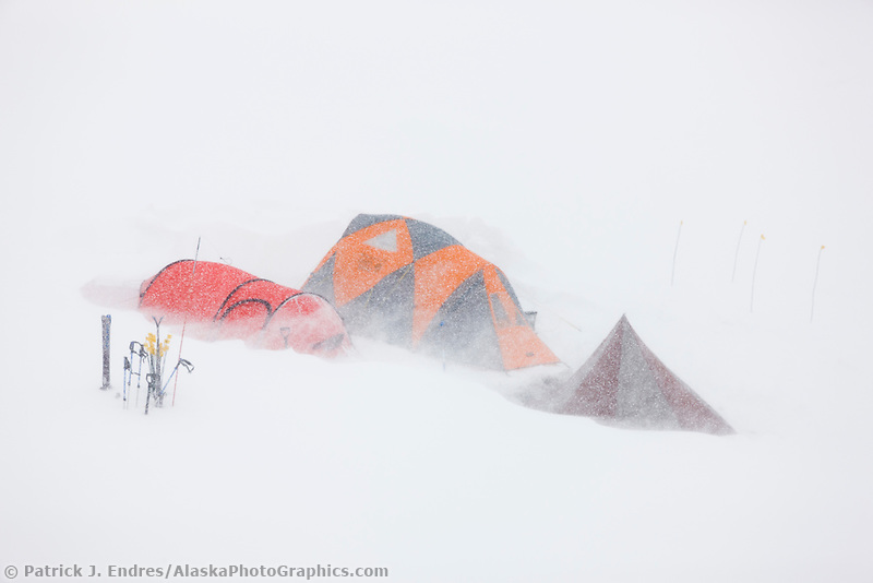 Base camp on the ruth glacier, Alaska Range, during snowstorm, Interior, Alaska.