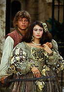 El Kantaoui, Tunisia, May, 1985. French actor Cris Campion and British actress Charlotte Lewis on the set of the film The Pirates, written and directed by French-Polish Roman Polanski.