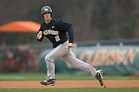 Micah Jarrett #2 of the Wake Forest Demon Deacons takes off for second base versus the Clemson Tigers at Doug Kingsmore stadium March 13, 2009 in Clemson, SC. (Photo by Brian Westerholt / Four Seam Images)