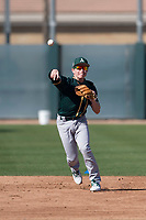 Oakland Athletics shortstop Nick Allen (2) during Spring Training Camp on February 24, 2018 at Lew Wolff Training Complex in Mesa, Arizona. (Zachary Lucy/Four Seam Images)