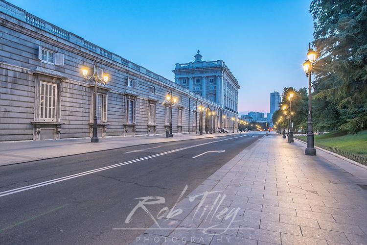 Spain, Madrid, Royal Palace (Palacio Real de Madrid) at Dawn