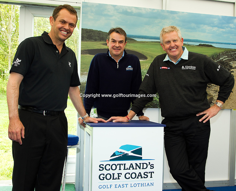 2010 European Ryder Cup Captain, Colin Montgomerie and ex Ryder Cup player, Andrew Coltart join Allan Minto from Golf East Lothian on visit the Scotland's Golf Coast stand at Golf Live 2012 which took place at The London Club, Brands Hatch, Kent from 18th to 20th May 2012: Picture Stuart Adams www.golftourimages.com: 20th May 2012