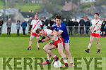 An Ghaeltacht Cian Ó Murchú and Annascaul Cathal Ferriter in an action during the West Kerry Championship Semi Final at Pairc an Aghasaigh, Dingle, on Sunday.