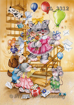 Interlitho, Michele, CUTE ANIMALS, paintings, stairs(KL3312,#AC#) illustrations, pinturas ,everyday