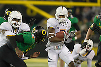 October 6th, 2011:  D.J. Campbell California tries to run for some more yardage after his interception during a game against Oregon at Autzen Stadium in Eugene, Oregon - Oregon defeated Cal 43 - 15