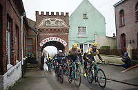 Sep Vanmarcke (BEL/LottoNL-Jumbo) &amp; Bram Tankink (NLD/LottoNL-Jumbo) leading the peloton for a 2nd run back into Cassel<br /> <br /> 77th Gent-Wevelgem 2015