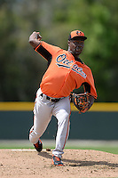 Pitcher David Richardson (54) of the Baltimore Orioles organization during a minor league spring training game against the Minnesota Twins on March 20, 2014 at Buck O'Neil Complex in Sarasota, Florida.  (Mike Janes/Four Seam Images)