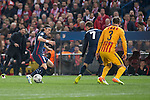 Atletico de Madrid's Filipe Luis and Antoine Griezmann and FC Barcelona Gerard Pique during Champions League 2015/2016 Quarter-Finals 2nd leg match. April 13, 2016. (ALTERPHOTOS/BorjaB.Hojas)