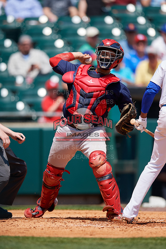 Pawtucket Red Sox catcher Oscar Hernandez (7) throws to first base during a game against the Buffalo Bisons on June 28, 2018 at Coca-Cola Field in Buffalo, New York.  Buffalo defeated Pawtucket 8-1.  (Mike Janes/Four Seam Images)