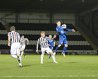 Billy McKay chests the ball under pressure from Conor Newton in the St Mirren v Inverness Caledonian Thistle Clydesdale Bank Scottish Premier League match played at St Mirren Park, Paisley on 30.1.13.