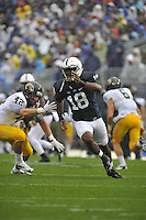 21 September 2013:  Penn State DE Deion Barnes (18) rushes. The Penn State Nittany Lions defeated the Kent State Golden Flashes 34-0 at Beaver Stadium in State College, PA.