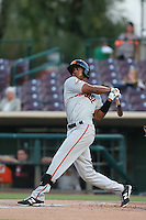 Daniel Carbonell (12) of the San Jose Giants bats during a game against the Inland Empire 66ers at San Manuel Stadium on August 26, 2015 in San Bernardino, California. San Jose defeated Inland Empire, 8-1. (Larry Goren/Four Seam Images)