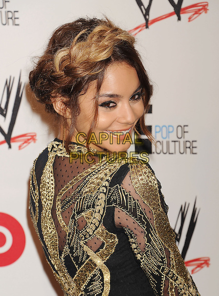 Vanessa Hudgens<br /> WWE &amp; E! Entertainment's &quot;SuperStars For Hope&quot; supporting Make-A-Wish at The Beverly Hills Hotel in Beverly Hills, CA., USA.<br /> August 15th, 2013<br /> half length gold black embroidered hair up braid plait dyed blonde dress side looking over shoulder <br /> CAP/ROT/TM<br /> &copy;Tony Michaels/Roth Stock/Capital Pictures