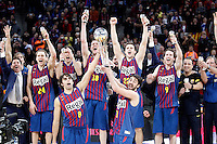 FC Barcelona Regal's coach Xavi Pascual, Brad Oleson, Alex Abrines, CJ Wallace, Xabi Rabaseda, Marcelinho Huertas, Victor Sada and Juan Carlos Navarro celebrate the victory in the Spanish Basketball King's Cup Final match.February 07,2013. (ALTERPHOTOS/Acero)