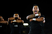 NELSON, NEW ZEALAND - SEPTEMBER 08:  Te Toiroa Tahuriorangi of the All Blacks performs the haka during The Rugby Championship match between the New Zealand All Blacks and Argentina at Trafalgar Park on September 8, 2018 in Nelson, New Zealand. Photo by Anthony Au-Yeung / POOL