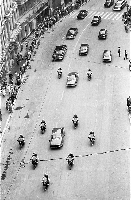 ROMANIA, Victory Av., Bucharest, 05.1987.Official convoy on Gorbachev's visit..© Andrei Pandele / EST&OST