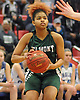 Zarria Franklin #3 of Elmont eyes the basket during the Class A Long Island Championship against Hauppauge at Suffolk County Community College Grant Campus in Brentwood on Thursday, March 8, 2018. Elmont won by a score of 56-30.