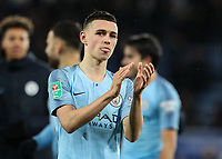Manchester City 's Phil Foden applauds the fans at the end of the match<br /> <br /> Photographer Andrew Kearns/CameraSport<br /> <br /> English League Cup - Carabao Cup Quarter Final - Leicester City v Manchester City - Tuesday 18th December 2018 - King Power Stadium - Leicester<br />  <br /> World Copyright &copy; 2018 CameraSport. All rights reserved. 43 Linden Ave. Countesthorpe. Leicester. England. LE8 5PG - Tel: +44 (0) 116 277 4147 - admin@camerasport.com - www.camerasport.com