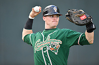 Catcher Alex Jones (15) of the Greensboro Grasshoppers warms up before a game against the Greenville Drive on Tuesday, April 25, 2017, at Fluor Field at the West End in Greenville, South Carolina. Greenville won, 5-1. (Tom Priddy/Four Seam Images)