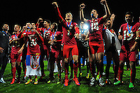 The Serbia team celebrates winning the FIFA Under-20 Football World Cup Final between Brazil (gold) and Serbia at North Harbour Stadium, Albany, New Zealand on Saturday, 20 June 2015. Photo: Dave Lintott / lintottphoto.co.nz