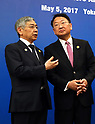 May 5, 2017, Yokohama, Japan -  Bank of Japan Governor Haruhiko Kuroda (L) chats with South Korean Finance Minister Yoo Il-ho (R) before starting the Japan, China and South Korea trilateral finance ministers and central bank governor's meering during the Asian Development Bank (ADB) annual meeting in Yokohama, suburban Tokyo on Friday, May 5, 2017. ADB started a four-day session for its annual meeting to celebrate the 50th anniversary of the ADB.   (Photo by Yoshio Tsunoda/AFLO) LwX -ytd-
