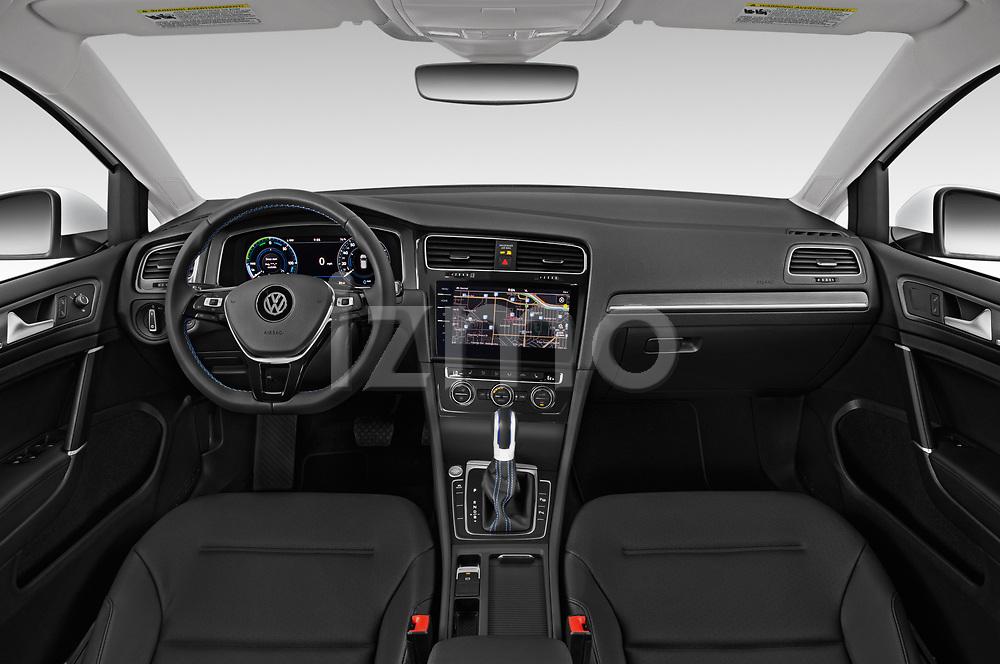 Stock photo of straight dashboard view of a 2019 Volkswagen e-Golf SEL Premium 5 Door Hatchback