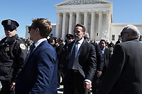 Washington, DC - March 26, 2019: Former California Governor Arnold Schwarzeneger exits the U.S. Supreme Court, March 26, 2019, after attending Supreme Court oral arguments in Rucho vs Comon Cause and Lamone vs Benisek, dealing with partisan gerrymandering.  (Photo by Lenin Nolly/Media Images International)